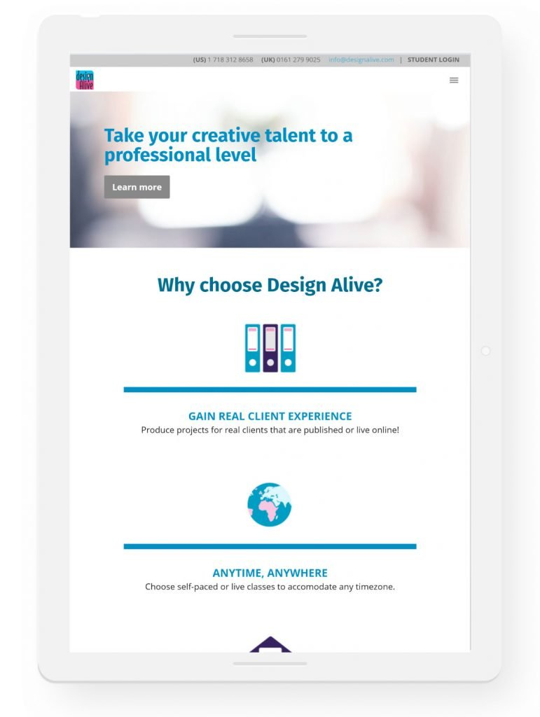Design Alive homepage, tablet