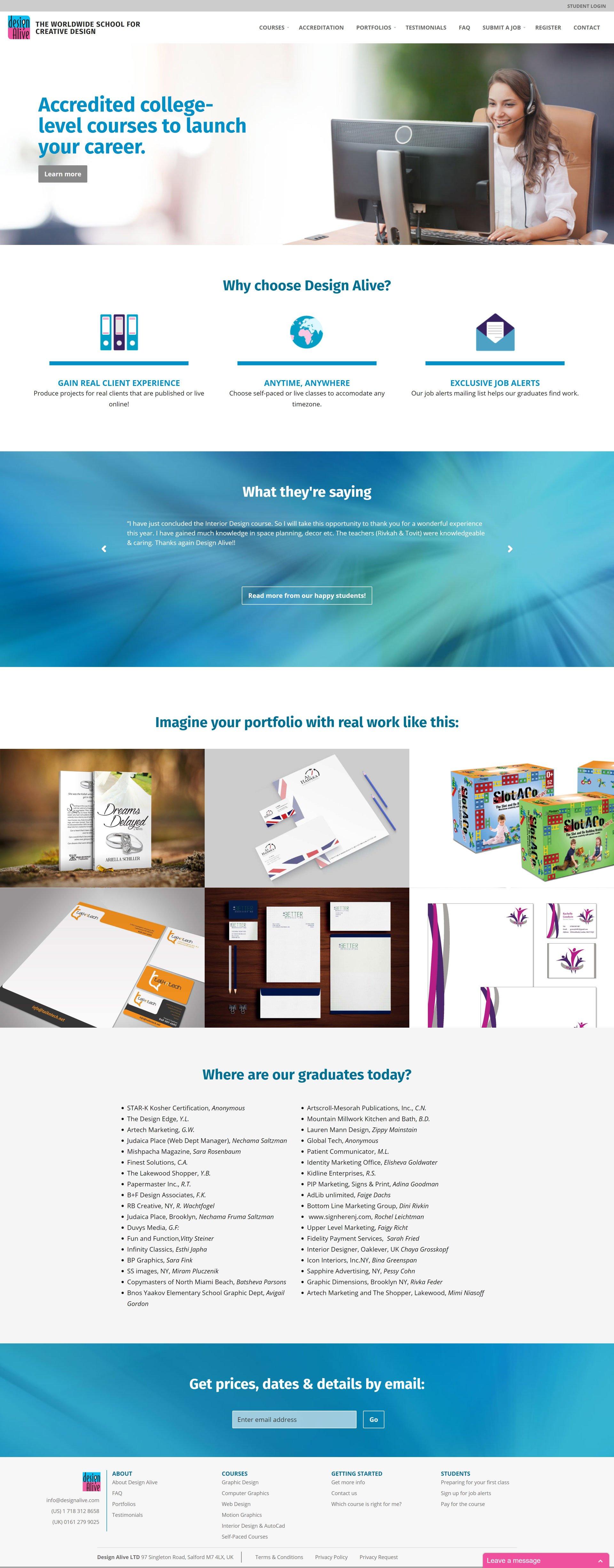 design alive home page